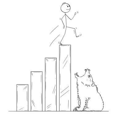 Cartoon of Businessman Walking On Raising Financial Chart Ending by Open Mouth of Bear