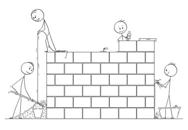 Cartoon of Group of Masons or Bricklayers Building a Wall or House from Bricks