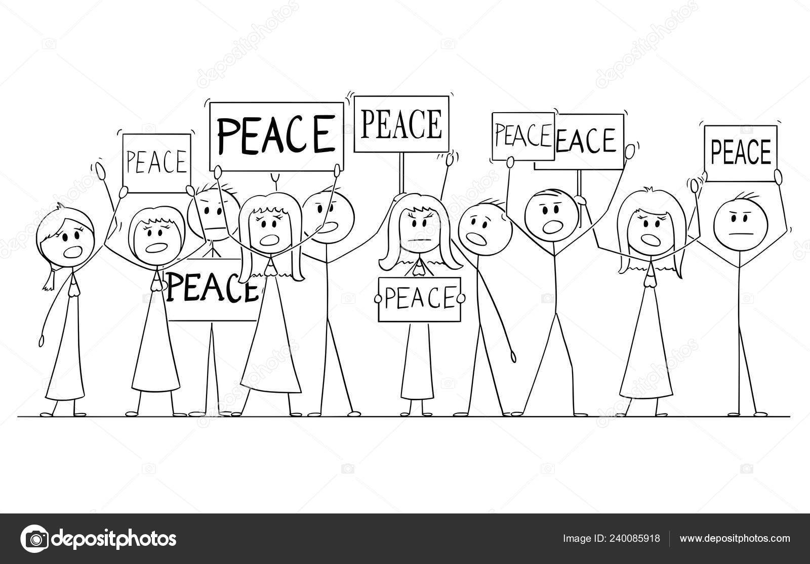 Cartoon Drawing Of Group Of People Demonstrating With Peace Text On