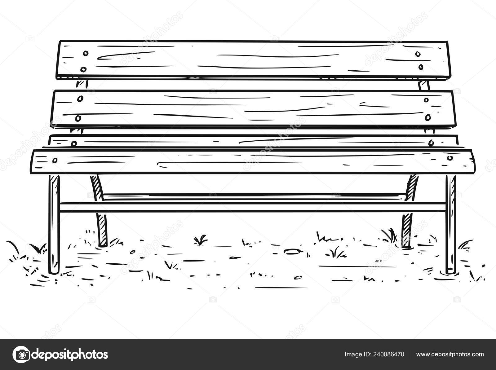 Fabulous Bench Cartoon Drawing Cartoon Drawing Of Empty Park Bench Machost Co Dining Chair Design Ideas Machostcouk