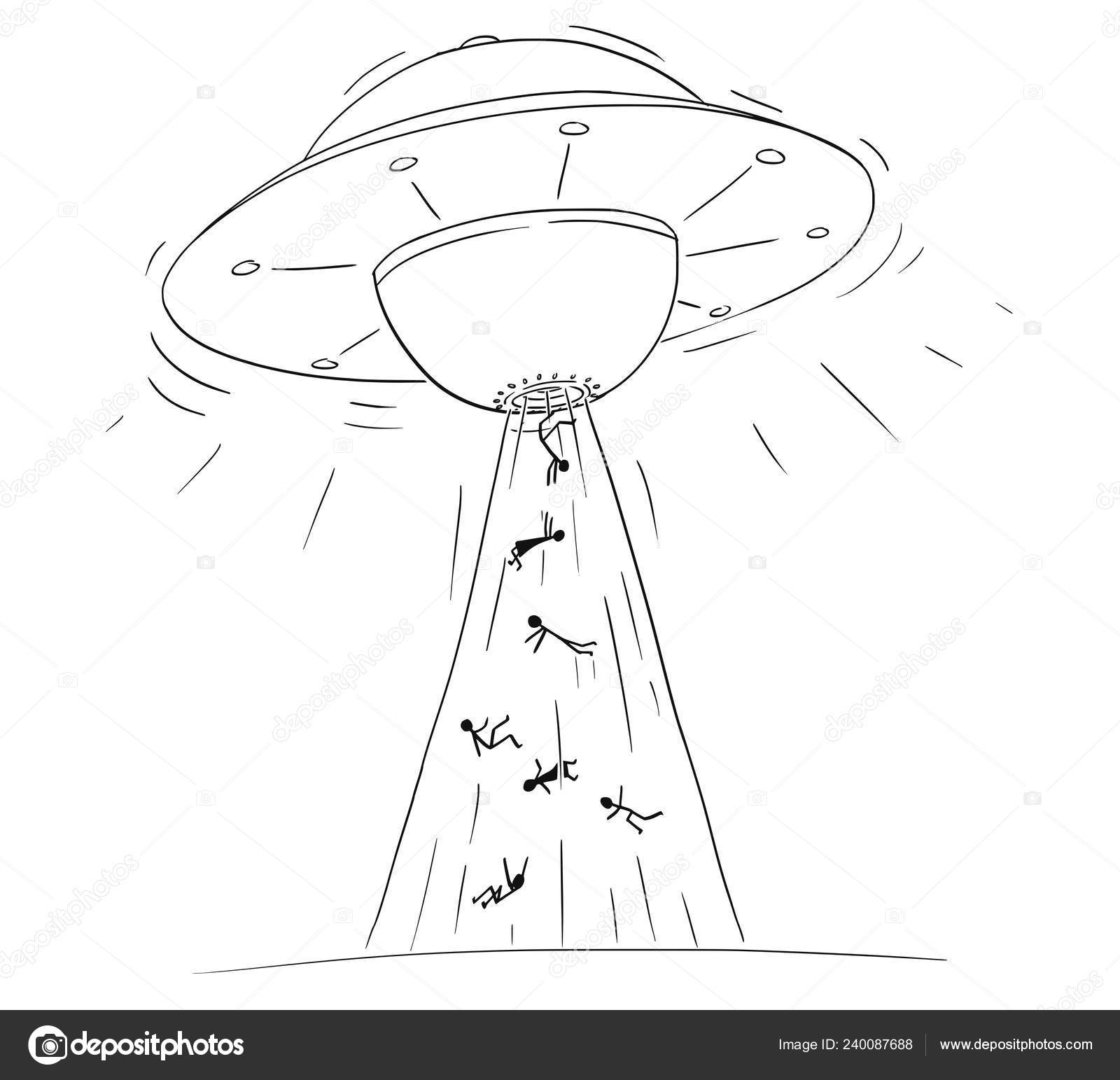 Cartoon drawing illustration of alien space ship or ufo abducting or kidnapping people in ray of light