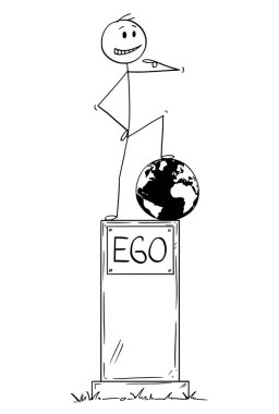 Cartoon of Statue of Egoist Selfish Man Standing on Pedestal With Text Ego