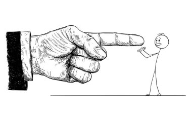 Cartoon of Big Hand in Suit Giving Order or Blaming Small Frustrated Man