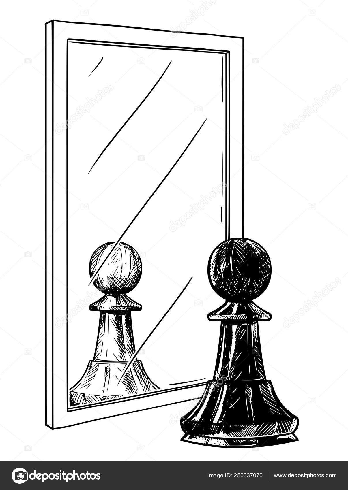Dessin Humoristique Du Pion Noir D échecs Reflétant Dans Le
