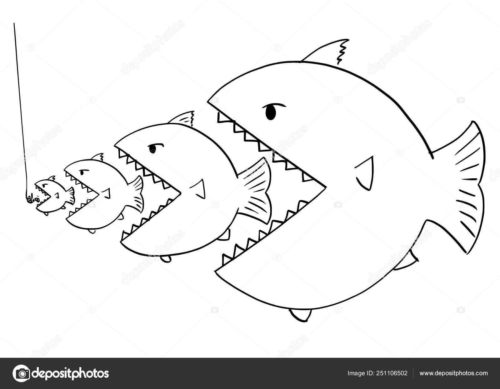 Dibujos Animados De Dibujo De Línea De Peces Grandes