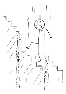 Vector Cartoon of Man or Businessman Walking Up the Stairs while Staircase is Collapsing Under Him