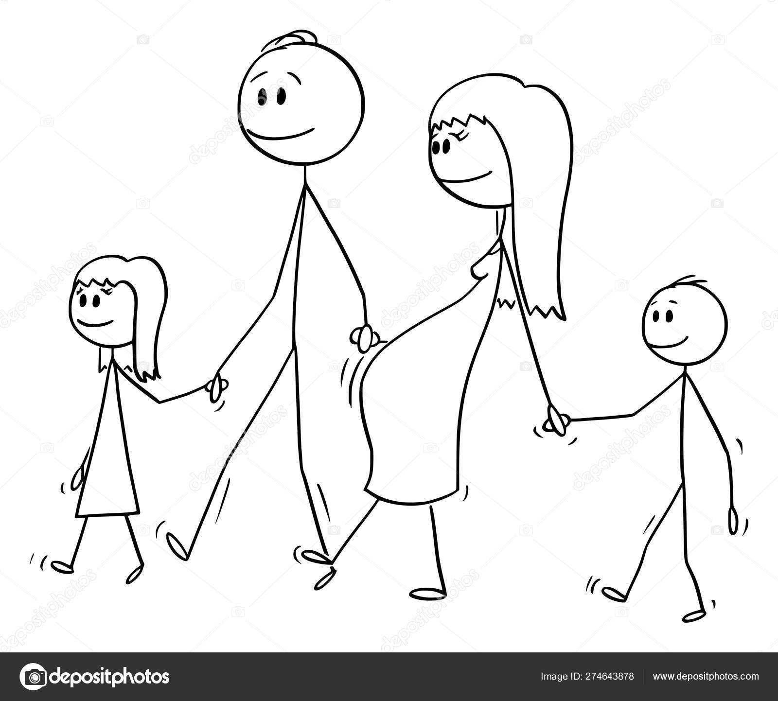 Vector Cartoon of Family of Man and Pregnant Woman Walking Together