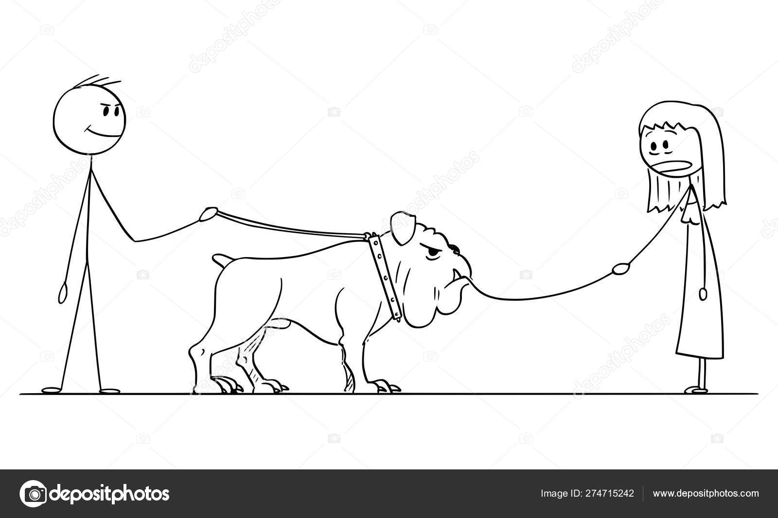 Vector Cartoon Of Man With Big Dog Who Eat Small Dog On Leash