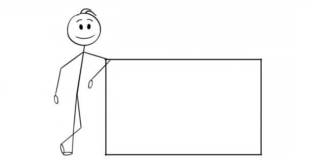 Cartoon 2d Stick Charakter Animation von Geschäftsmann oder Mann leaning on Empty Sign und Pointing at It . Alpha-Maske enthalten.