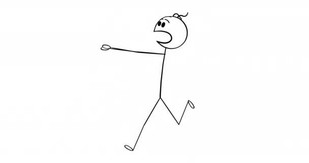 Zeichentrick-2D-Stick-Charakteranimation von Geschäftsleuten oder Menschen, die in Angst oder Panik davonlaufen. Alpha-Maske inklusive.