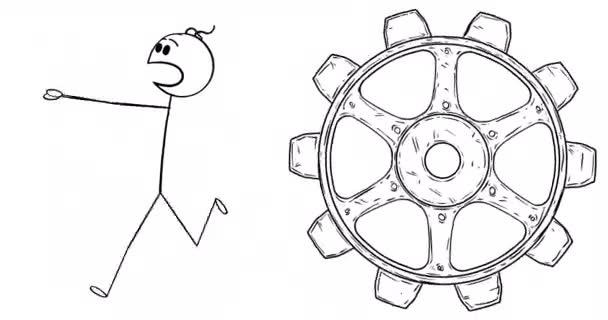 Zeichentrick-2D-Stick-Charakteranimation eines Mannes oder Geschäftsmannes, der in Angst oder Panik aus einem Zahnrad läuft. Alpha-Maske inklusive.