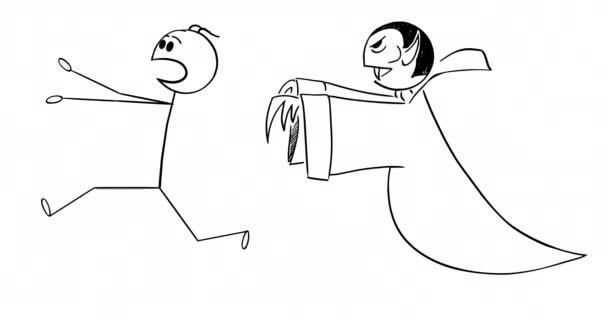 Zeichentrick-2D-Stick-Charakter-Animation eines Mannes, der in Angst oder Panik vor einem Vampir-Monster läuft. Alpha-Maske inklusive.
