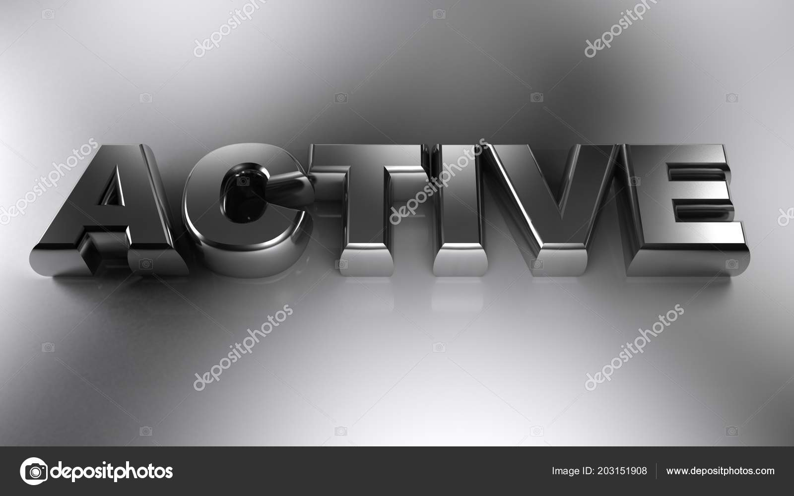 Write Active Written Metallic Chromed Letters Laying White