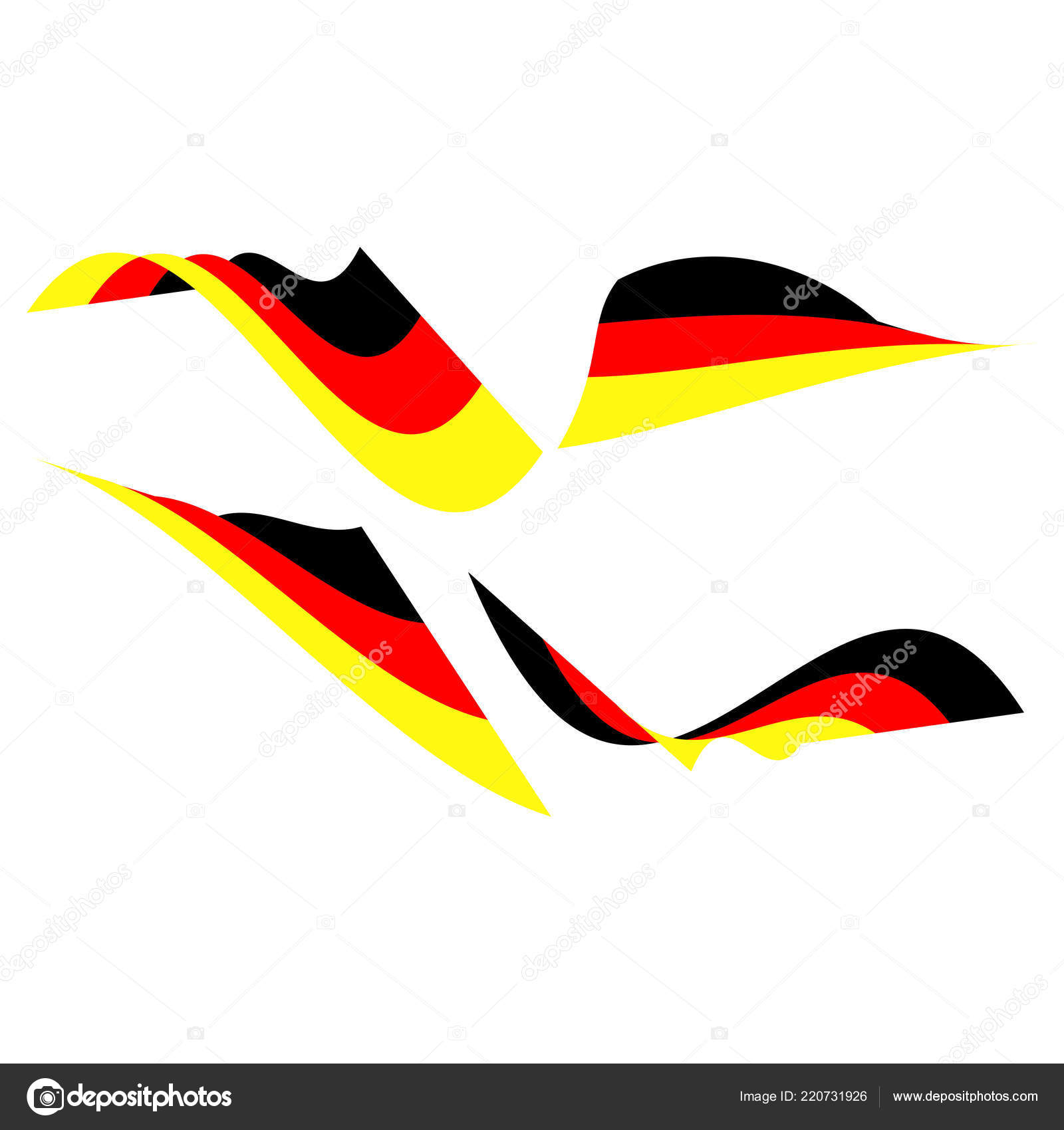 Collection Four German Flags Isolated White Background