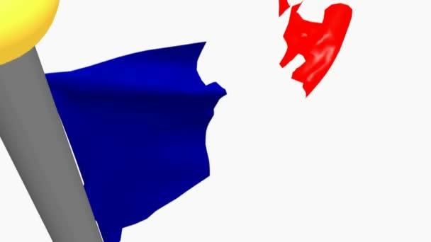 Francouzská vlajka mávání, izolované na bílém pozadí - 3d vykreslování videa