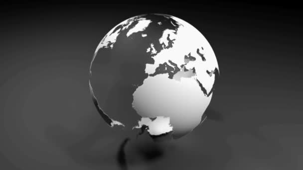 The map of the world with the seas and oceans being transparent, on a black surface - 3D rendering video