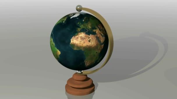 Planet Erde Globus physikalische Karte rotiert auf weißer Oberfläche - 3D-Rendering-Video