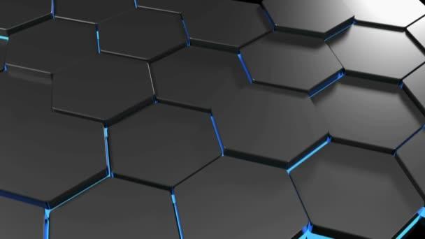Oberfläche, die mit Sechsecken bewegt und zeigt blau beleuchtete Seiten - 3d Rendering video