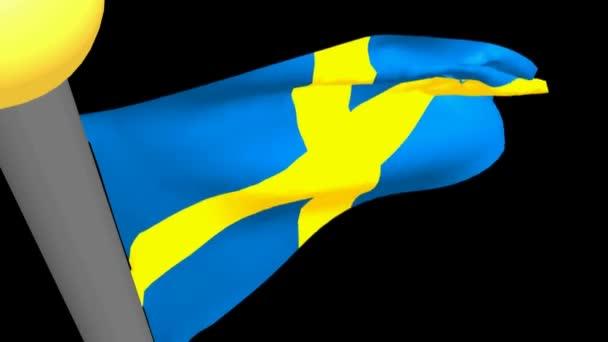 Švédská vlajka mávání - 3d vykreslování videa
