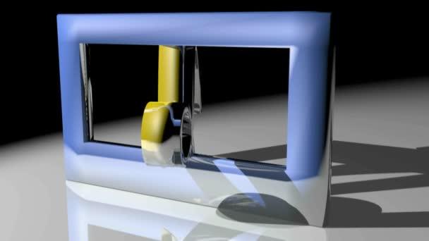 Sternzeichen Steinbock in einem Quadrat blauer Rahmen - 3d Rendering video drehen