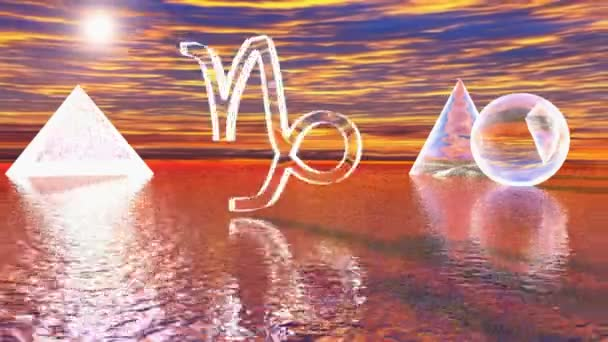 Sternzeichen Steinbock über dem Meer, in der Nähe von anderen Formen - 3d Rendering 3D-Video drehen
