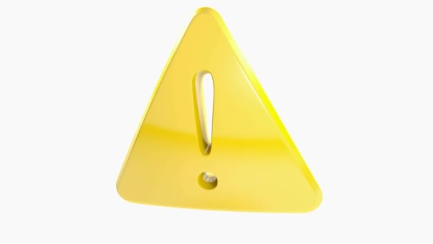 A golden yellow triangle with a hole having the shape of an exclamation point, isolated on white background - 3D rendering illustration