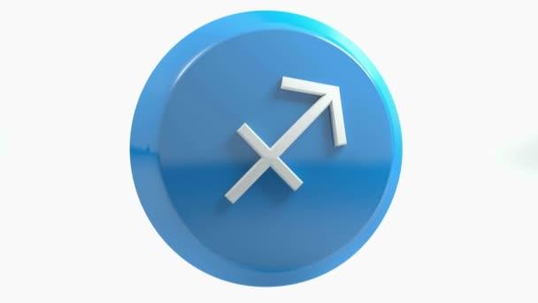 Znamení Střelce ikonu modrý kruh tlačítka - 3d vykreslování obrázku