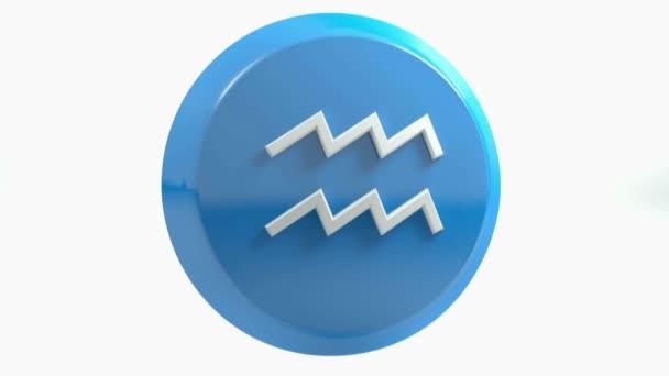 Znamení zvěrokruhu Vodnář ikonu modrý kruh tlačítka - 3d vykreslování obrázku
