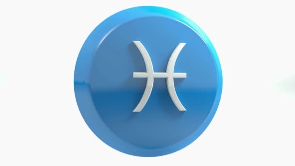 Znamení zvěrokruhu ryby ikonu modrý kruh tlačítka - 3d vykreslování obrázku