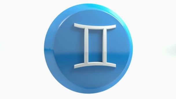 Znamení Blíženců ikonu modrý kruh tlačítka - 3d vykreslování obrázku