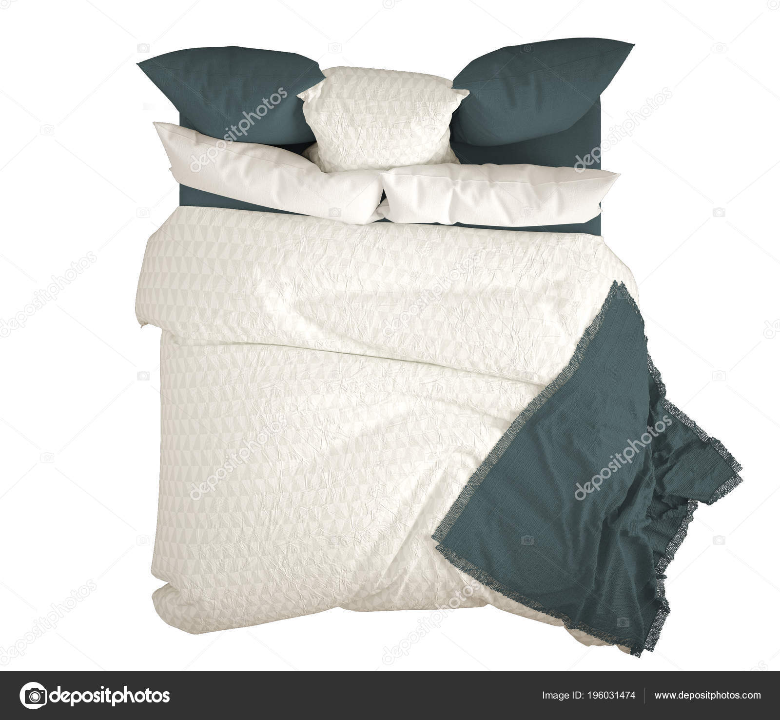 double bed top view. Scandinavian Classic Modern Double Bed Pillows Top View Isolated White \u2014 Stock Photo O