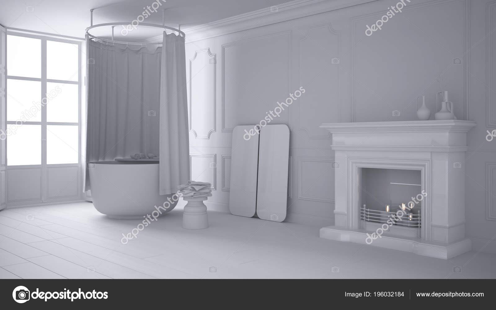 Camino Classico Bianco : Bellissimo interno bianco classico con un camino un divano e un