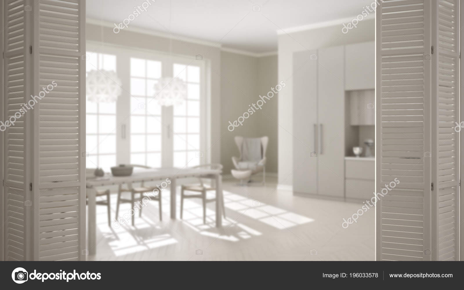 Blanco Puerta Plegable Cocina Clásica Con Mesa Comedor Ventanal ...