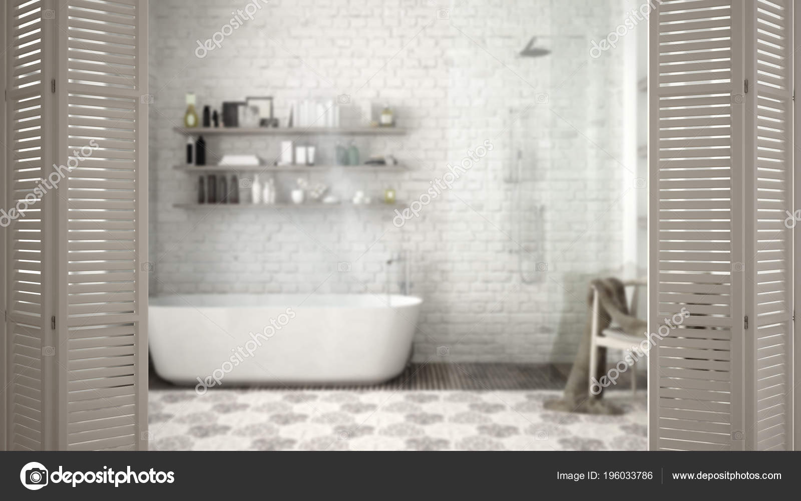 Weiße Falttür Eröffnung Modernen Klassischen Badezimmer Mit ...