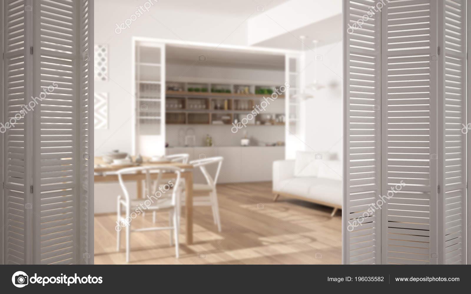 Weisse Falttur Eroffnung Modernen Wohnzimmer Und Kuche Weisse