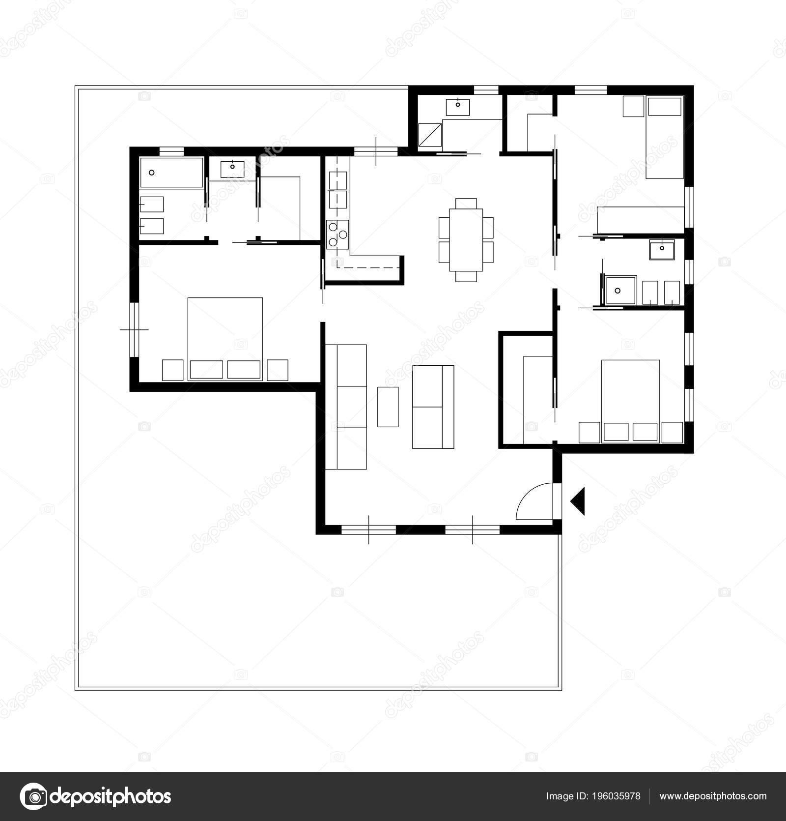 Dessin Architecture Une Maison Privee Avec Cuisine Chambres Salon