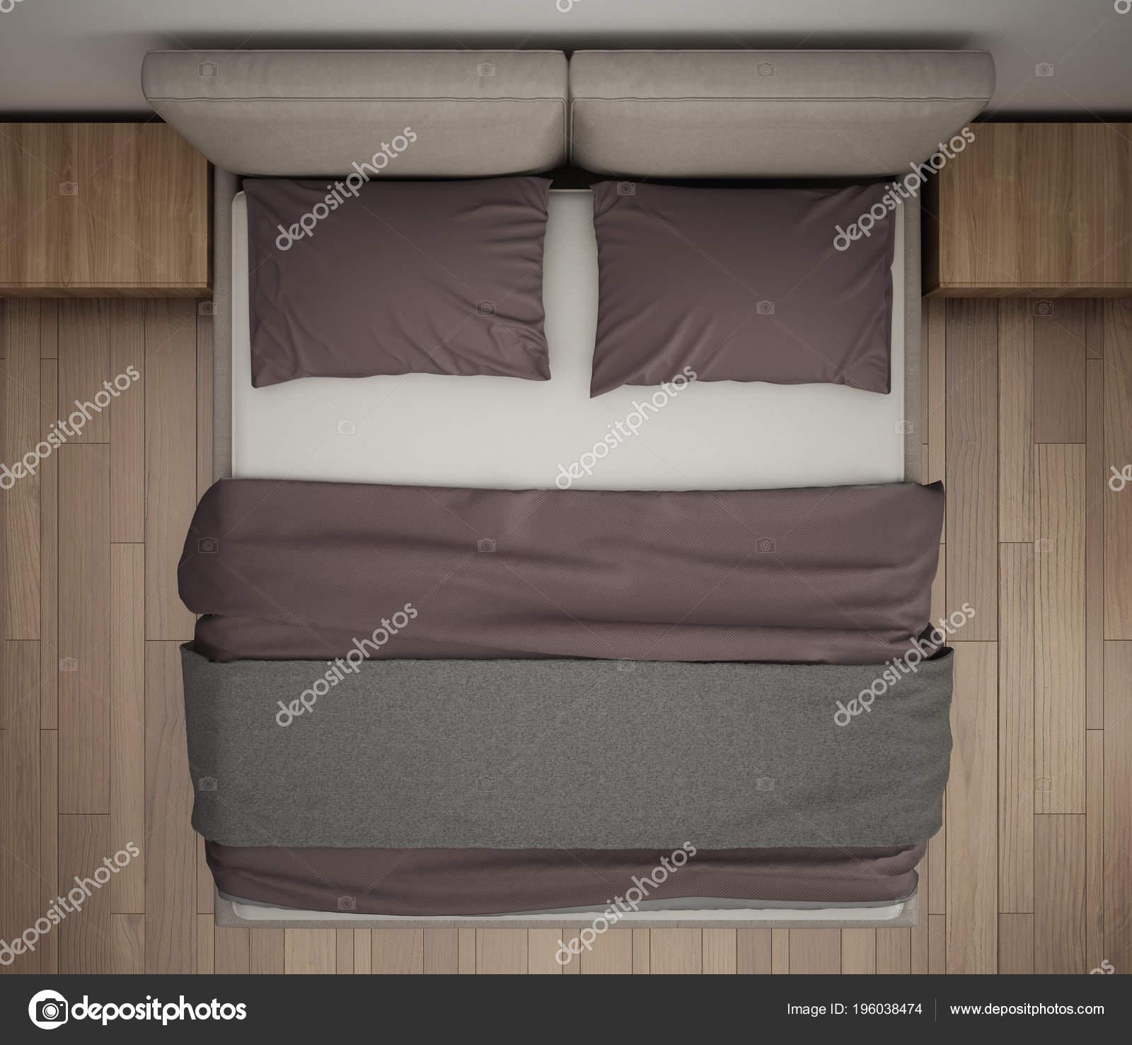 Moderne Schlafzimmer Ansicht Von Oben Nahaufnahme Auf Grau Und Rot U2014  Stockfoto