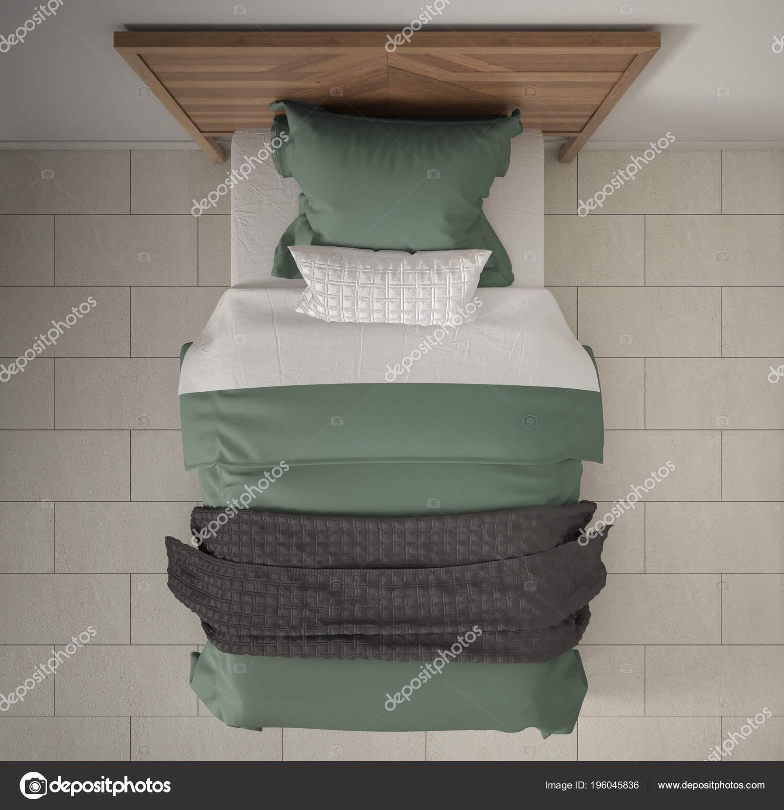Moderne Schlafzimmer Draufsicht Closeup Auf Single Aus Holz Grau