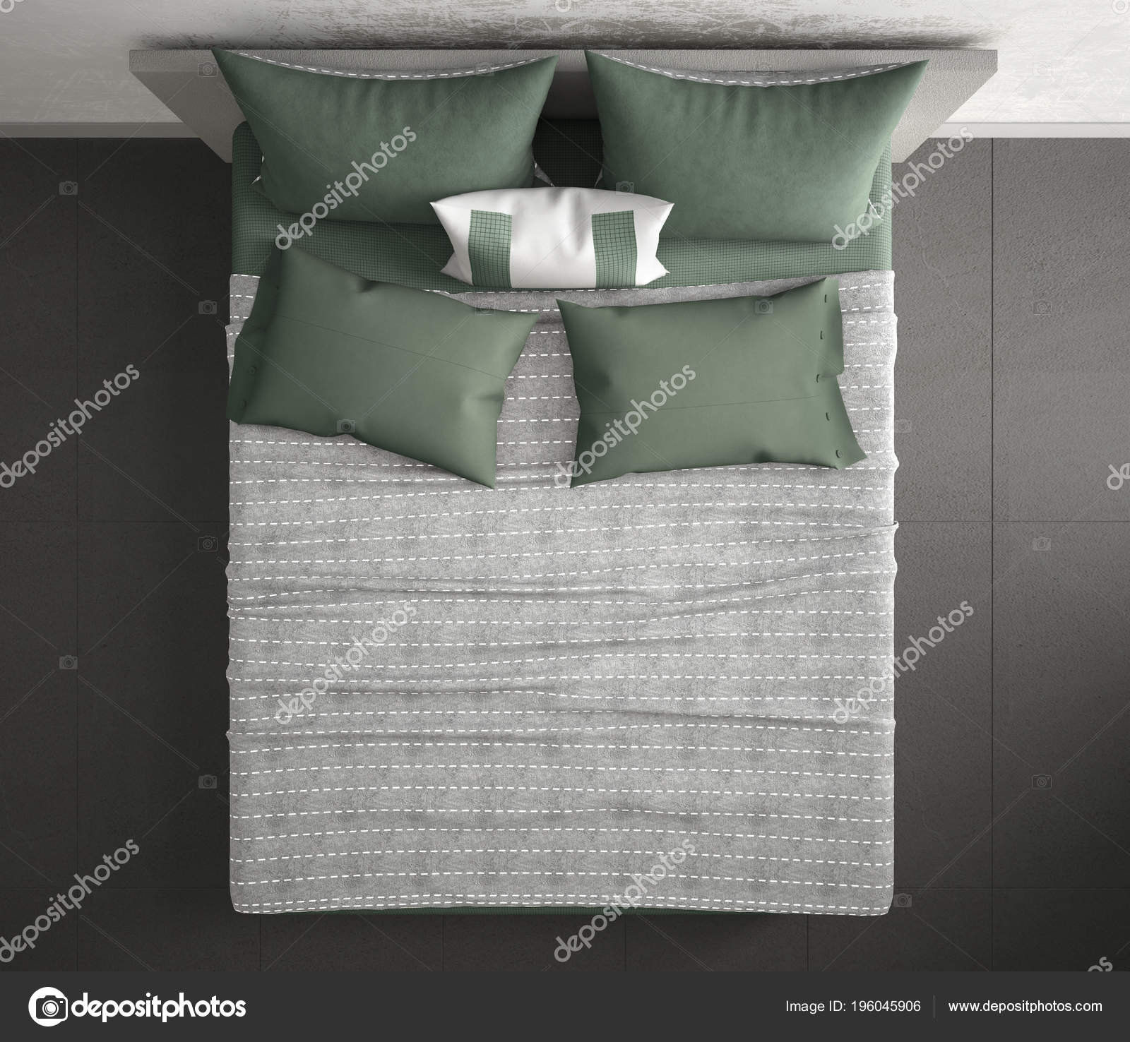 Modern Bedroom Top View Closeup Double Gray Green Bed Marble Stock Photo C Archiviz 196045906
