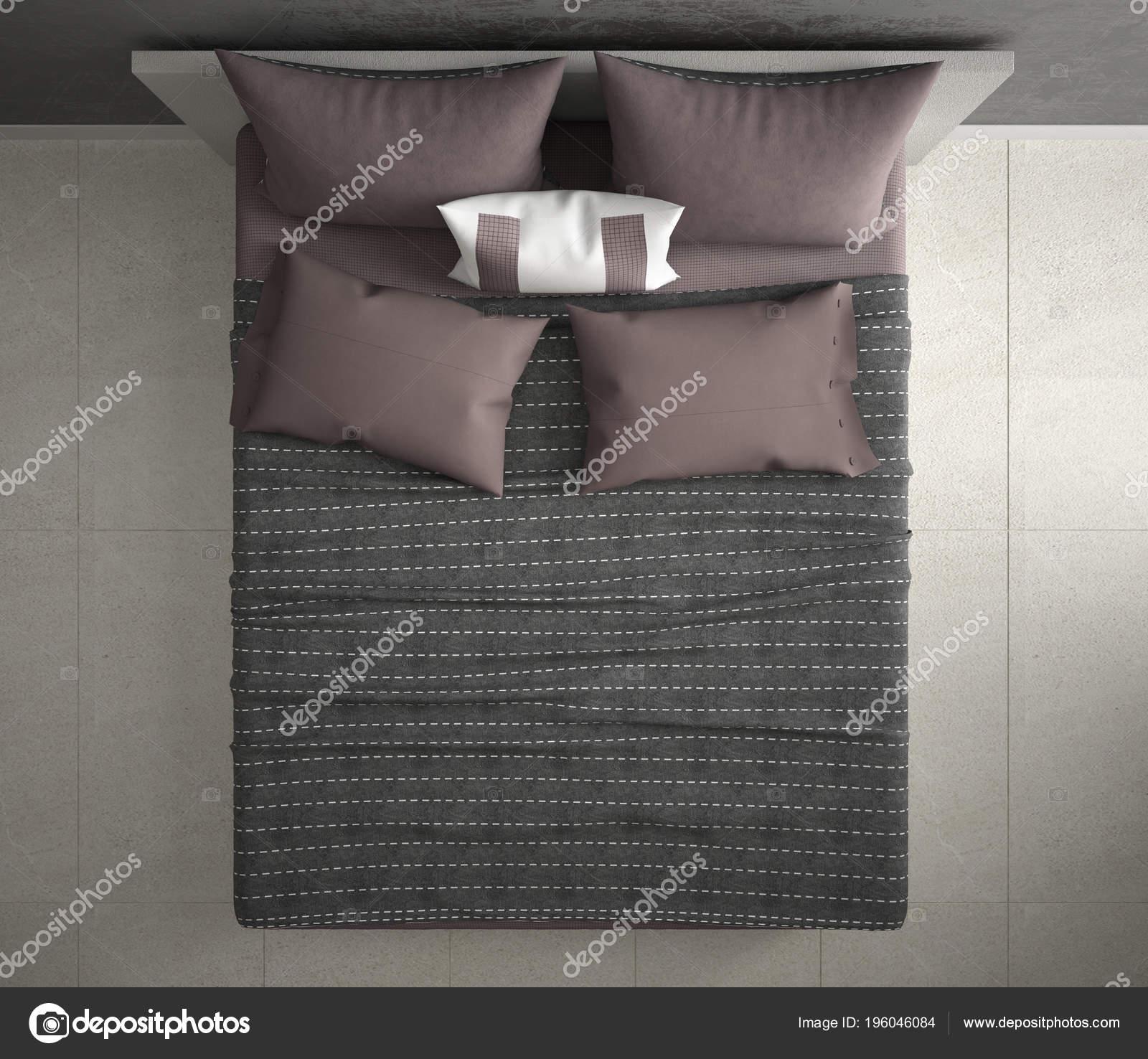 Chambre Coucher Moderne Vue Dessus Gros Plan Sur Gris Rouge U2014 Photo
