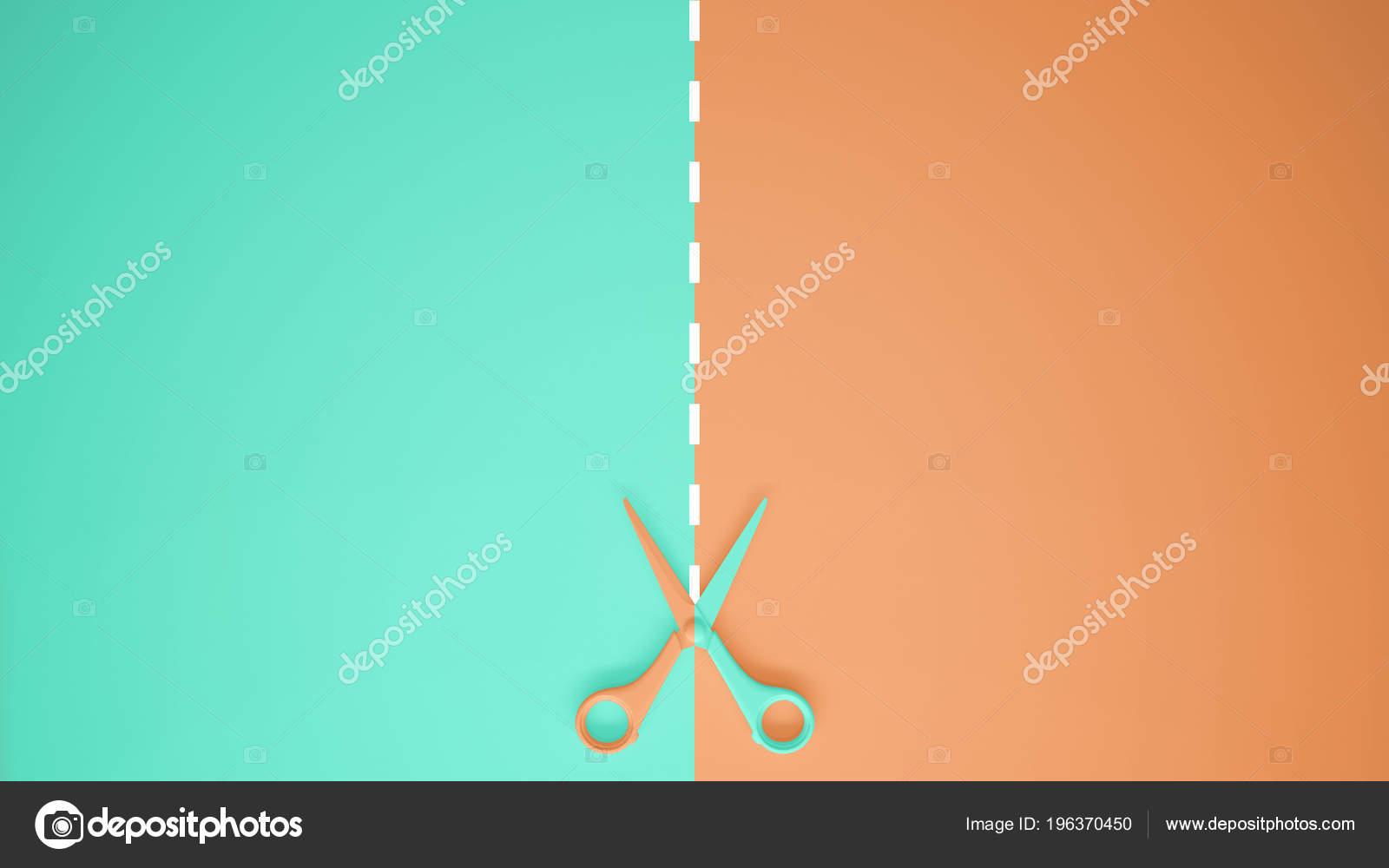 Scissors Cut Lines Pastel Turquoise Orange Colored
