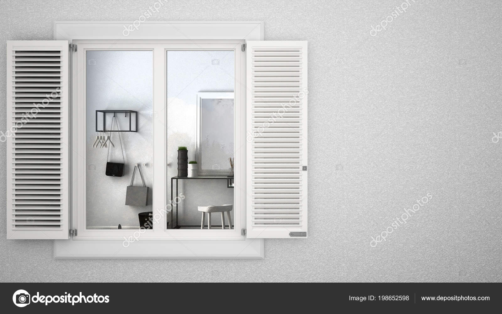 Intonaco Esterno Moderno : Intonaco esterno parete con finestra bianca con persiane