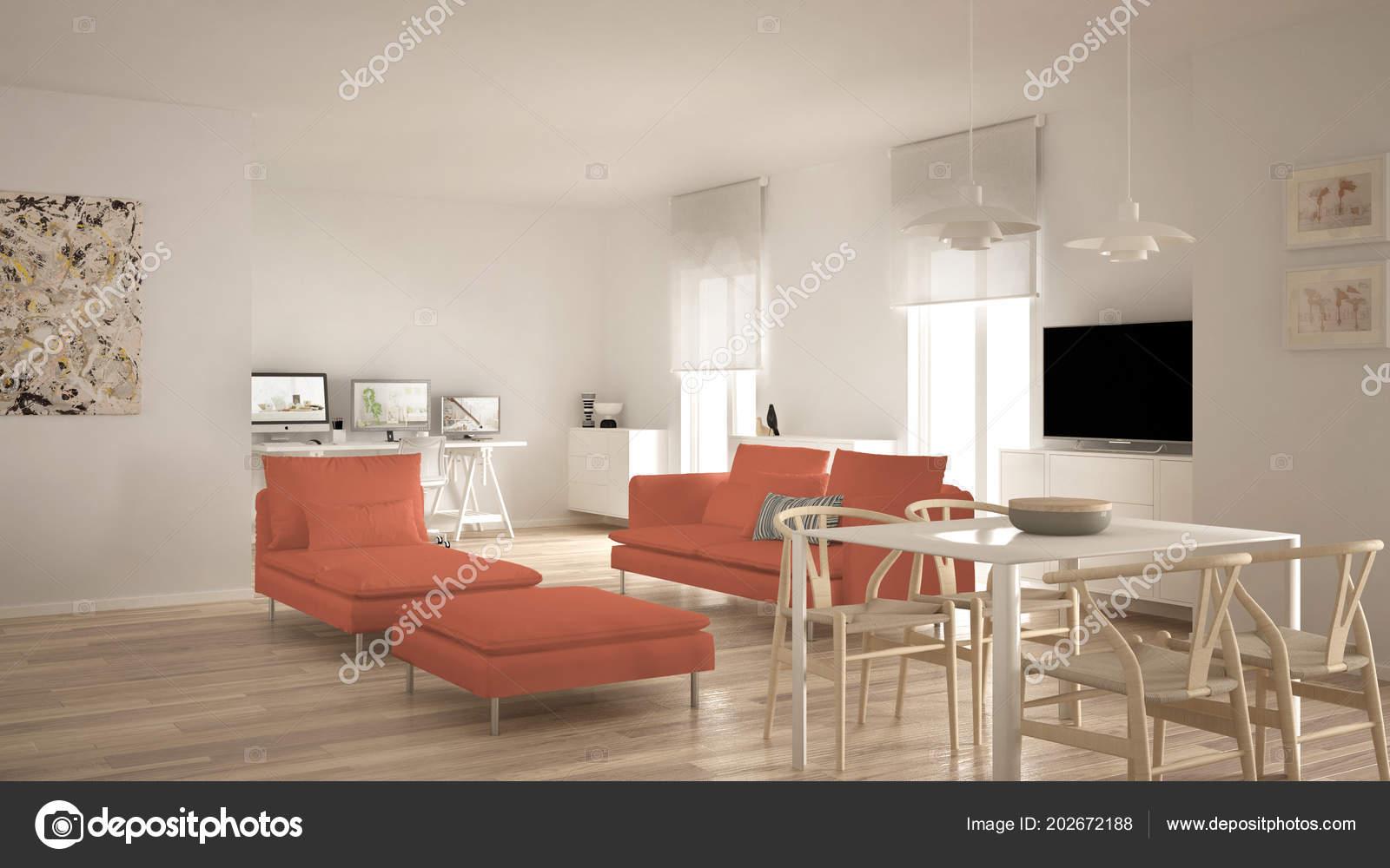 Scandinavian Contemporary Living Room Open Space Dining