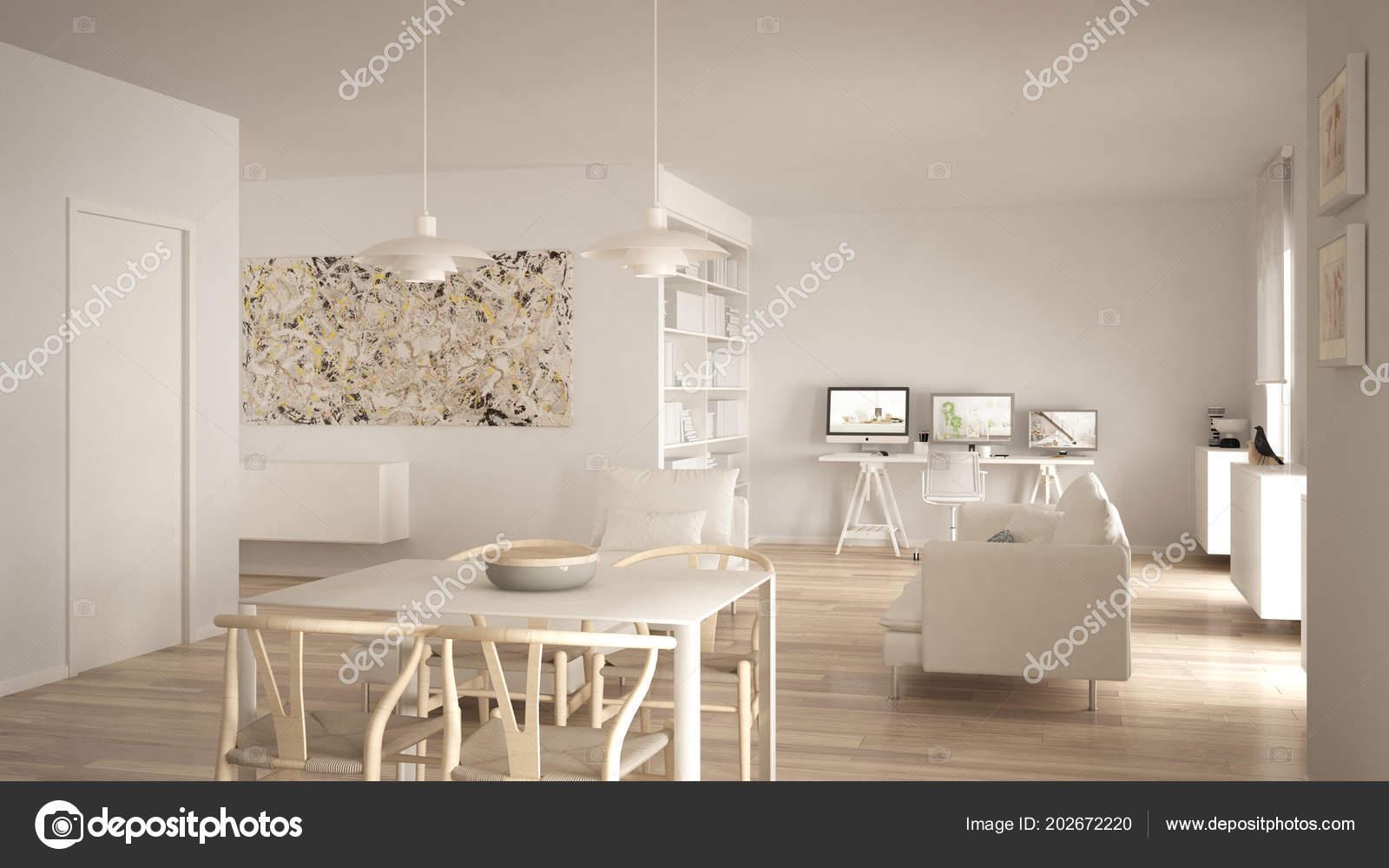 Nordico minimalista soggiorno open space con tavolo pranzo for Soggiorno minimalista