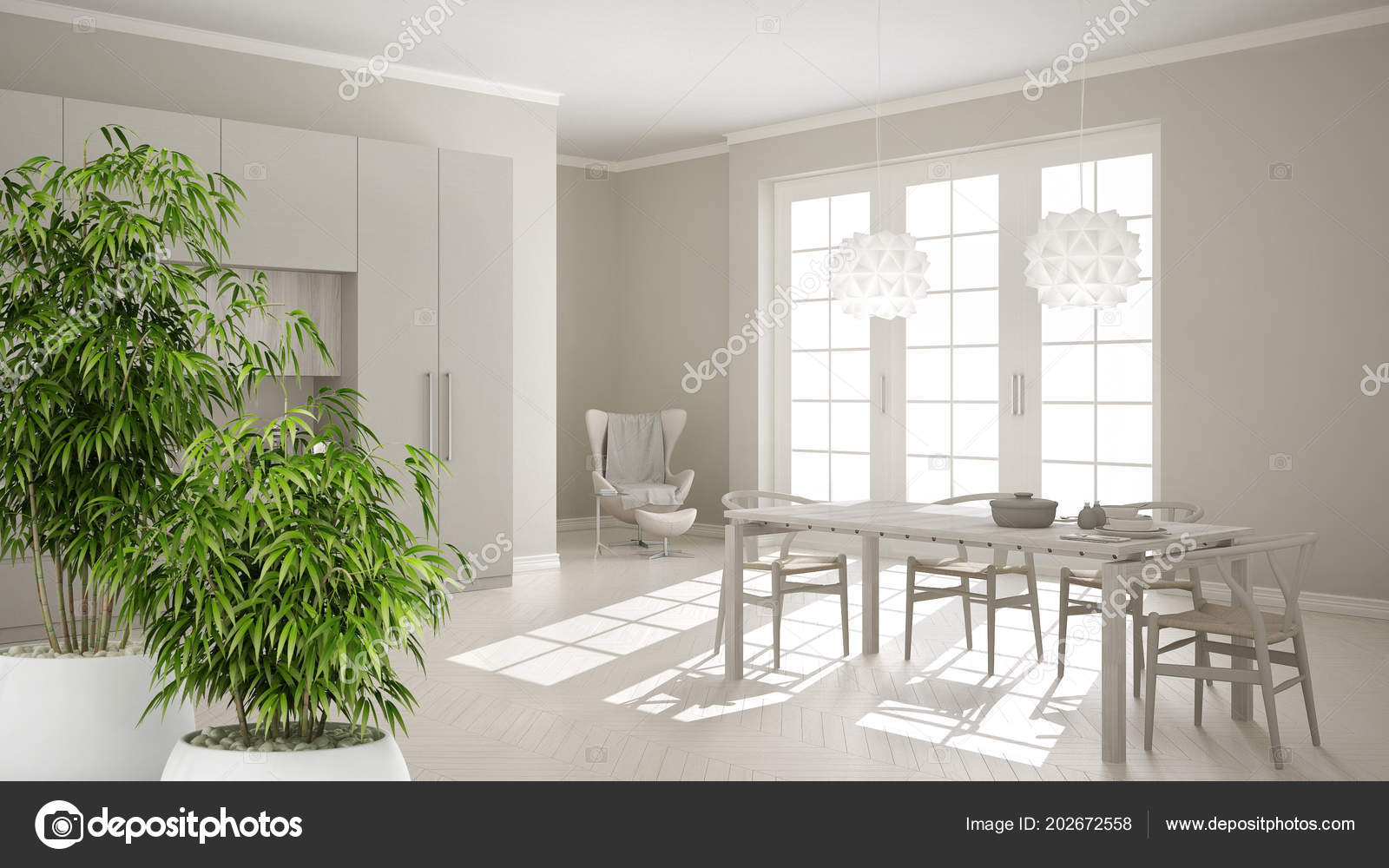 Zen Interior Potted Bamboo Plant Natural Interior Design Concept