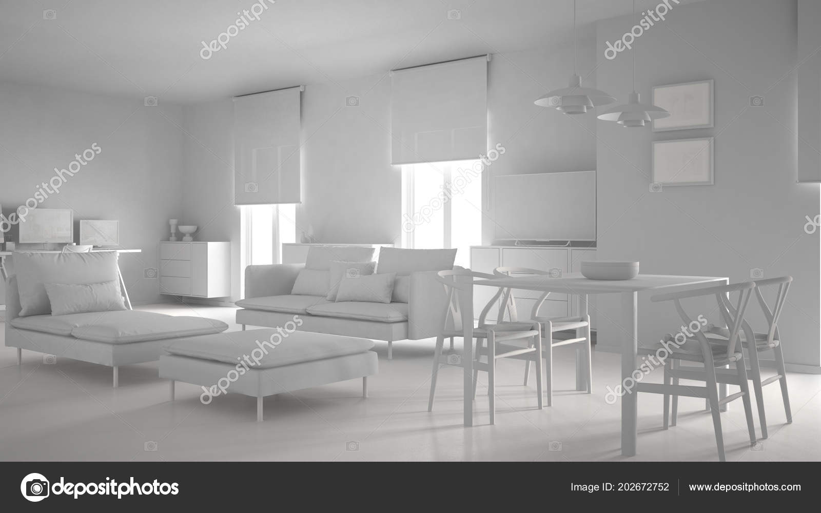 Total White Project Modern Contemporary Living Room Open
