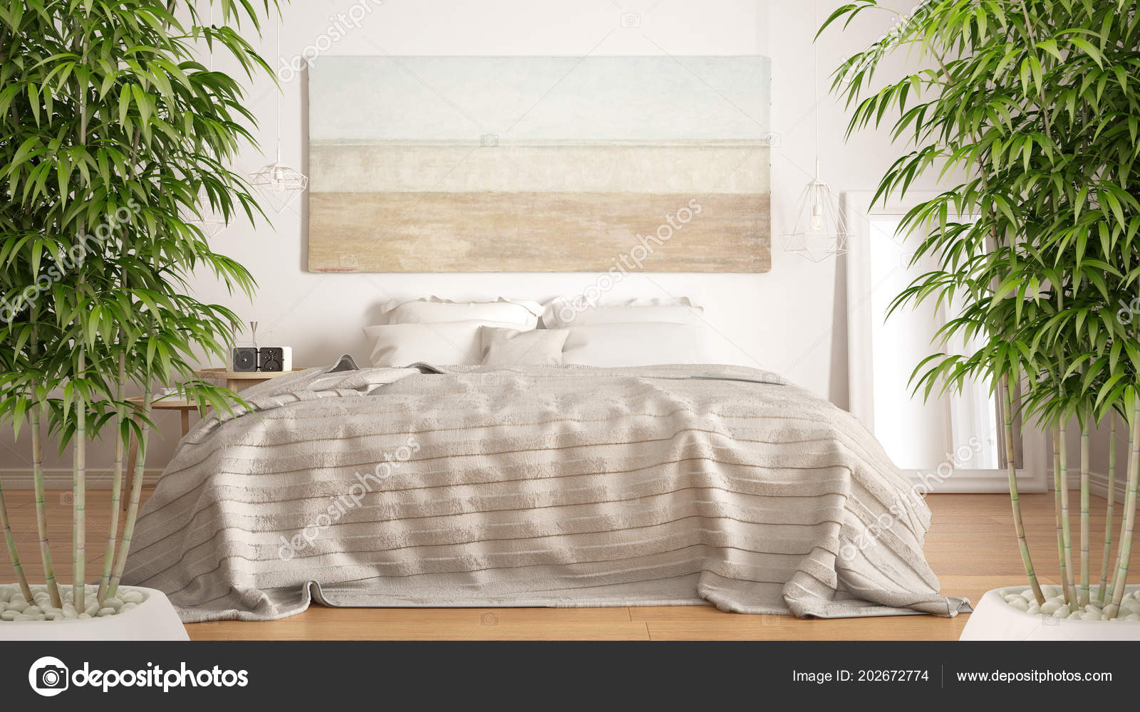 Zen Interieur Slaapkamer : Zen interieur met ingemaakte bamboe plant natuurlijke interieur