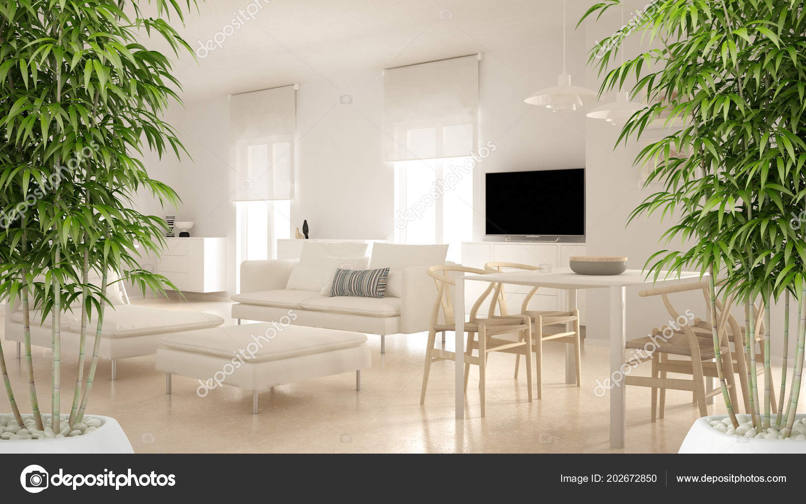 Zen Interior Potted Bamboo Plant Natural Interior Design Concept