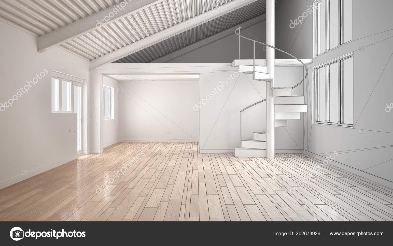 Onvoltooide project van witte moderne leeg interieur open ruimte