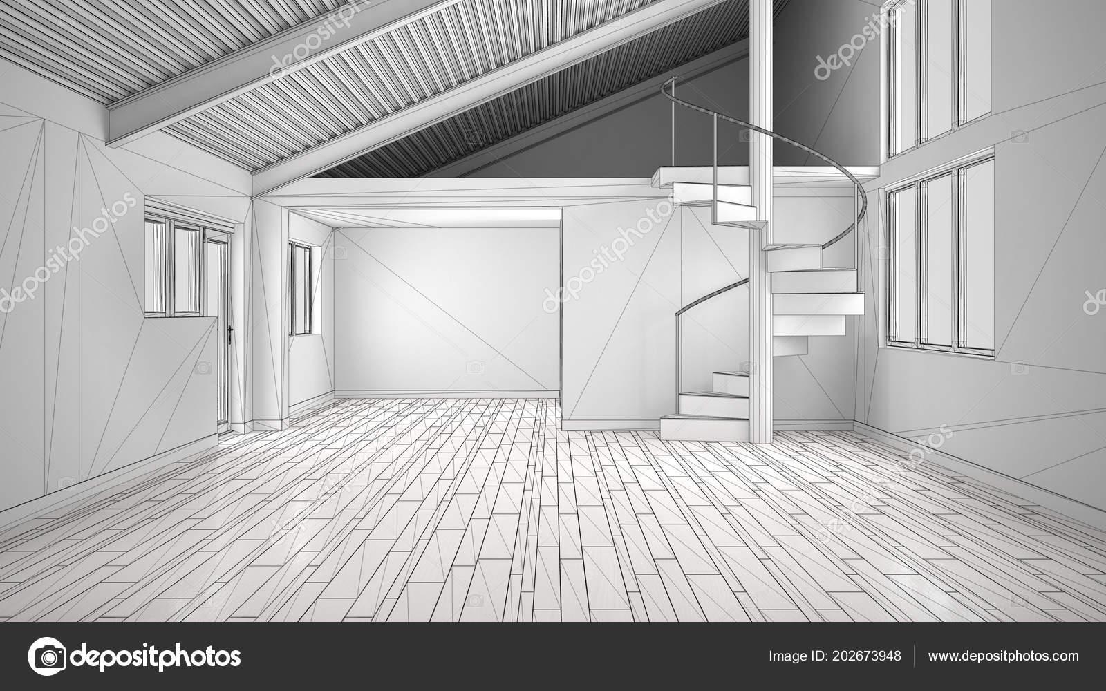 Projet Inachevé Moderne Espace Blanc Vide Intérieur Ouvert Avec ...
